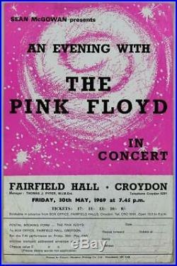 THE PINK FLOYD mega rare vintage original Croydon 1969 concert handbill