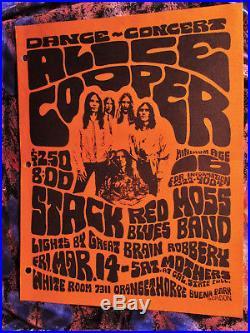 TOPS! 1969 ORIG! (8 1/2 X 11) ALICE COOPER STACK CONCERT POSTER Psych