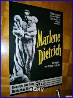 TOP! 1st ORIGINAL 1960 German XL (84cm) MARLENE DIETRICH Concert-Tour Poster