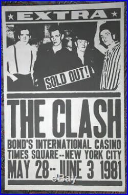 The Clash Bonds International Casino Guaranteed Original 1981 Concert Poster