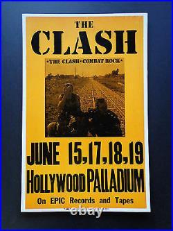The Clash Hollywood Palladium Original Vintage Rock Concert Promo Poster