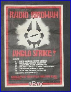 The Radio Birdman Anglo Strikes london UK Original 1977 Concert Tour Poster