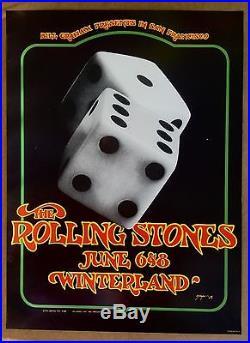 The Rolling Stones Vintage Original Winterland Concert Poster 1972