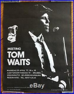 Tom Waits Rare Original Concert Poster Brussels, Belgium, April 25, 1977