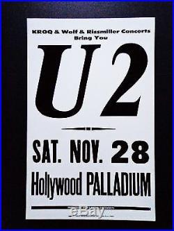 U2 At The Hollywood Palladium Original Vintage Rock Concert Promotion Poster
