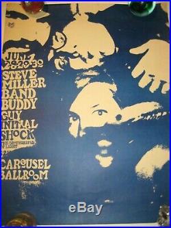 Ultra Rare 1968 Original Vintage Steve Miller Band, Buddy Guy Concert Poster