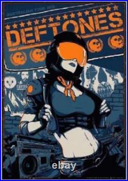 Ultra Rare 2013 Deftones Australian Tour Concert Poster #/325 Vance Kelly S/n Mt