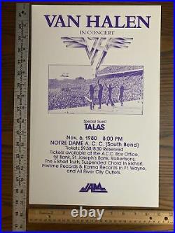 VAN HALEN with TALAS 1980 poster Notre Dame ACC So Bend Indiana concert original
