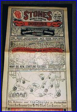 VERY RARE 1974 Rolling Stones rock concert movie poster Ziegfeld Theatre NYC NY