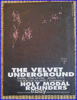 Velvet Underground Holy Modal Rounders Rare BOSTON TEA PARTY'69 Concert Poster