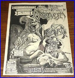 Venom Slayer Authentic Original Concert Poster Pomona Auditorium 23 April 1985