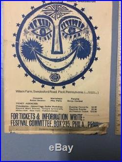Vintage 1965 4th Annual Philadelphia Folk Festival Concert Poster