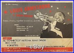 Vintage 1966 Jazz Music Concert Poster, Louis Armstrong & Simon & Garfunkel