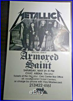 Vintage Metallica Decatur, IL Concert Poster 5/31/86 Violent Femmes