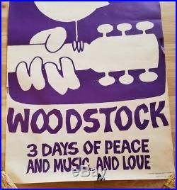 Vintage Original 1969 Woodstock Poster From Concert Warner Bros Purple & White