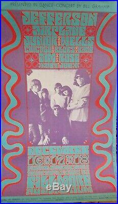 Vintage Original Jefferson Airplane Bill Graham 1965 Concert Poster 14x22