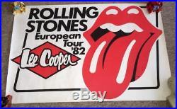 Vintage Original Lee Cooper Concert Poster Rolling Stones 1982 European Tour