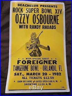 Vintage Original Ozzy Osbourne with Randy Rhoads Concert Tour Poster March 20 1982