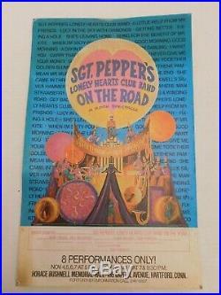 Vtg 1970's ORIGINAL Beatles Sgt. Pepper Broadway Bushnell Concert Poster Live
