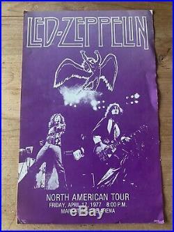 Vtg April 17, 1977 Led Zeppelin Concert Poster Live