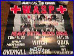 W. A. S. P 1983 TROUBADOUR CONCERT POSTER 22.5x17 HEAVY METAL BLOOD DRIVE ORIGINAL
