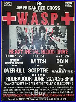 W. A. S. P. Original 1983 Throubadour Club Concert Poster