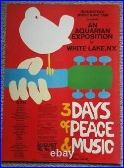 Woodstock Concert Poster Original Type 2 8/15-17/69 Signed By Grace Slick